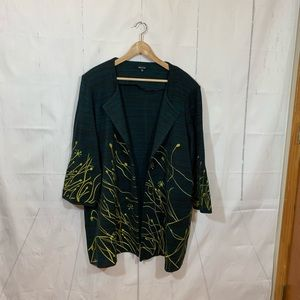 Misook Green Embroidered Open Front Blazer 2X
